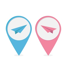 Set of map pointers with origami paper plane icon vector