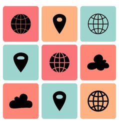 Black flat map pin icons vector image