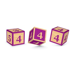 Number 4 wooden alphabet blocks vector
