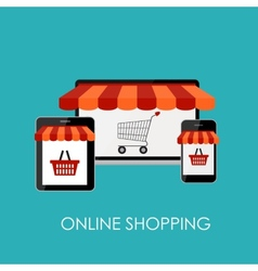 Online shopping flat concept for mobile apps vector