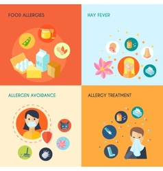 Allergy flat set vector