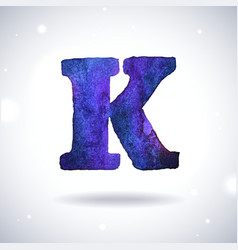 Watercolor letter k vector