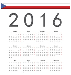 Square czech 2016 year calendar vector