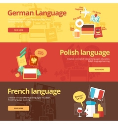 Flat banners for german polish french vector