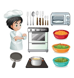 Chef and utensil vector