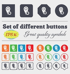 Map pointer setting icon sign big set of colorful vector