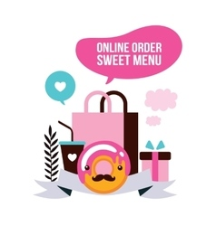 Food delivery set sweet dessert shopping delicious vector