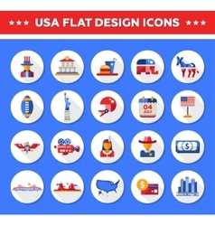 Set of flat design usa travel icons infographics vector