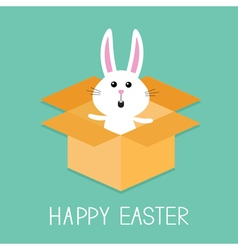 Happy easter cute bunny rabbit open paper vector