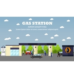 Gas station concept banner transport vector