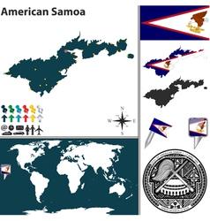 American samoa map world vector