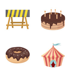 Building food and other web icon in cartoon style vector