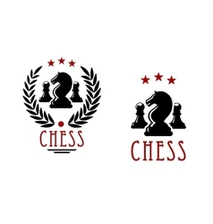 Chess tournament emblems with knights and pawns vector