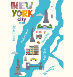 city map of manhattan of new york city vector image