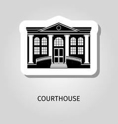 Courthouse black building sticker vector