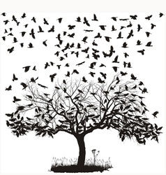 Crows in a tree vector image vector image