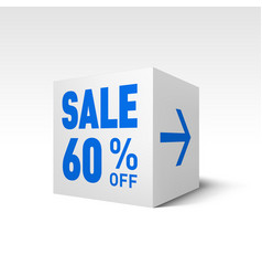 Cube banner template sixty percent off discount vector