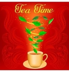 Cup of herbal tea with text Tea time vector image vector image