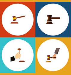 Flat icon court set of hammer government building vector