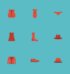 Flat icons lingerie coat gumshoes and other vector