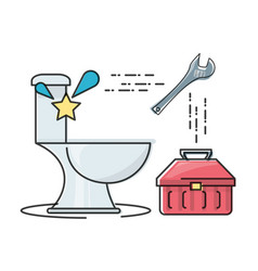 Flat set icon bathroom and tools plumbing vector