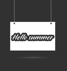 hallo summer on signboard vector image vector image