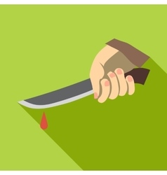 Hand holding knife with blood icon flat style vector image