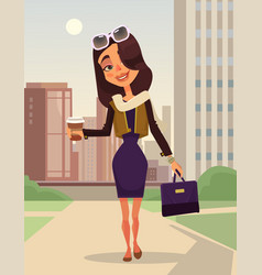 Happy smiling business woman mascot character vector