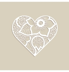 Heart shape with hand drawn floral ornament vector image