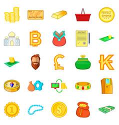 Money bond icons set cartoon style vector