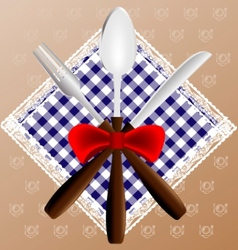 napkin spoon knife and fork vector image vector image