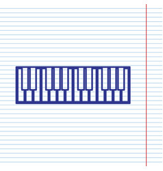 Piano keyboard sign navy line icon on vector