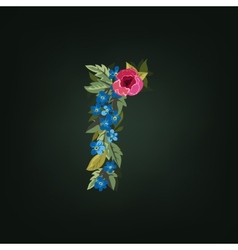 R letter flower alphabet colorful font vector