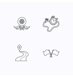 Race flags timer and destination pointer icons vector image vector image