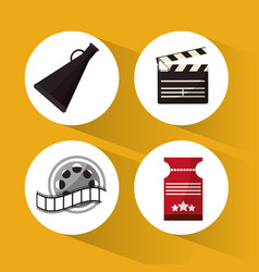Set cinema concept symbol icons vector