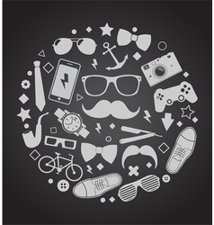 Set of fashionable mens accessories vector image