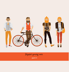 Set with hipster young man in different poses vector