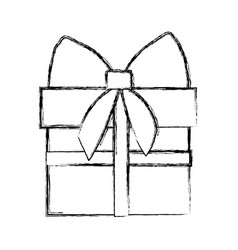 silhouette blurred gift box with ribbon wrapping vector image vector image