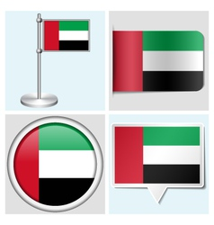 United arab emirates flag - sticker button label vector
