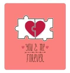 valentine card Creative idea - puzzle with vector image vector image