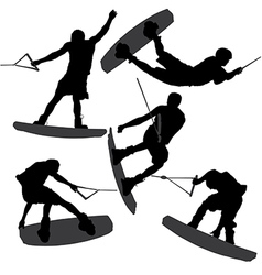 Wakeboarding Silhouette vector image vector image
