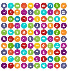 100 landscape icons set color vector