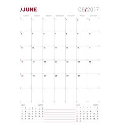 June 2017 Print Template Monthly Calendar vector image