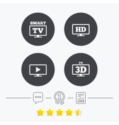 Smart tv mode icon 3d television symbol vector