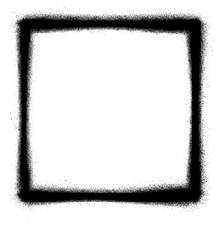 Square graffiti thin sprayed icon in black vector