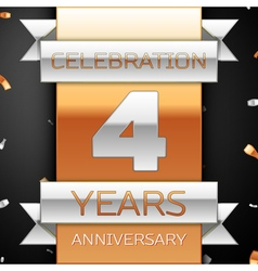 Four years anniversary celebration golden and vector image