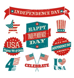 Independence day vintagedesign elements collection vector