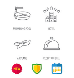 hotel swimming pool and airplane icons vector image