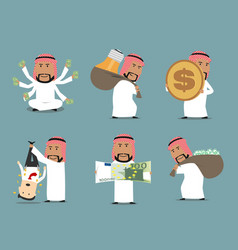 Rich arab businessman with money character set vector