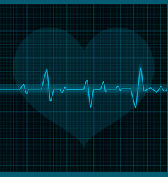 Electrocardiogram blue waves with heart symbol vector